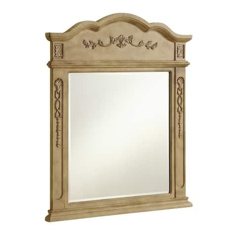 Danville 32 in. Traditional Mirror in Antique Beige - Beige/Silver