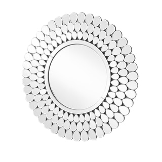 Sparkle Clear Glass Contemporary Round Wall Mirror