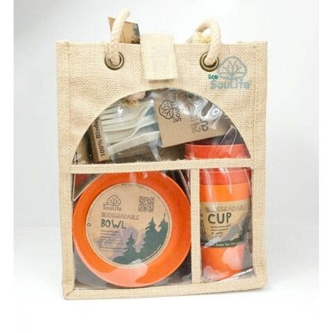 EcoSouLife Bamboo - Picnic Set for 4, Orange