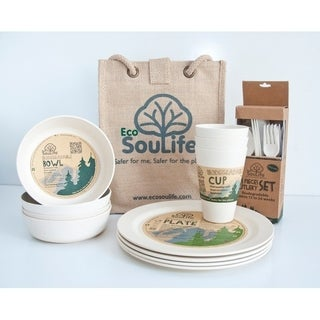 EcoSouLife Bamboo - Picnic Set for 4, Sand