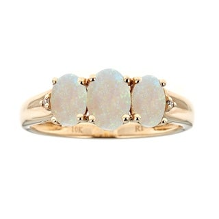 10K Yellow Gold Australian Opal And Diamond Ring By Anika And August White
