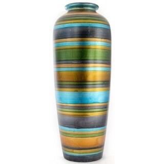 """Stripes 24"""" Ceramic Water Jug Floor Vase"""