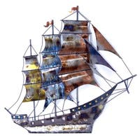 Ship in Storm 3D Metal Wall Art