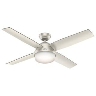 """Hunter Fan 52"""" Dempsey Matte Nickel w / 4 Matte Nickel / Walnut Rev Blds - Silver"""