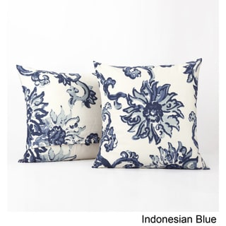 Exclusive Fabrics Indonesian Blue Printed Cotton Cushion Cover- PAIR
