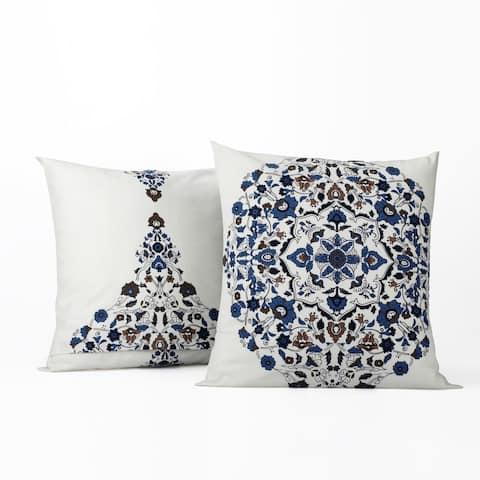 Exclusive Fabrics Kerala Blue Printed Cotton Cushion Cover- PAIR