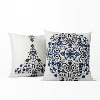 Exclusive Fabrics Kerala Blue Printed Cotton Cushion Cover- PAIR