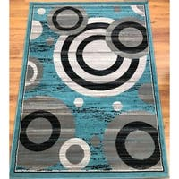 Antep Rugs Kashan King Collection GALAXY Geometric Area Rug Blue and Gray - 8' x 10'