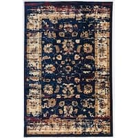 Antep Rugs ORIENTAL Collection ANTIK Floral Area Rug NAVY/IVORY - 5' x 8'