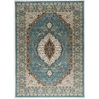 Antep Rugs Shahrazad Collection Ottoman Palace Blue/ Beige Floral Area Rug (5'3 x 7'6)