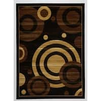 Antep Rugs Kashan King Collection GALAXY Geometric Area Rug Black and Beige - 8' x 10'