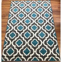 Antep Rugs Kashan King Collection 505 Trellis Area Rug Blue and Cream - 5' x 7'