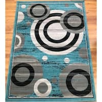 Antep Rugs Kashan King Collection GALAXY Geometric Area Rug Blue and Gray - 5' x 7'