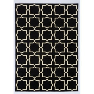 Antep Rugs Kashan King Collection Plus Black/ Cream Geometric Area Rug (8' x 10')