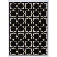 Antep Rugs Kashan King Collection PLUS Geometric  Area Rug Black and Cream 8' X 10' - 8' x 10'