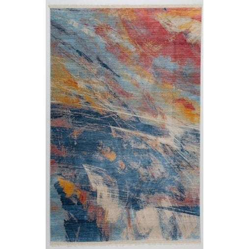 Antep Rugs Comfort Zone Collection Marmaris Print Area Rug Navy - 8 x 10 2