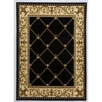 Antep Rugs Kashan King Collection EPHESUS Geometric  Area Rug Black and Beige 8' X 10' - 8' x 10'