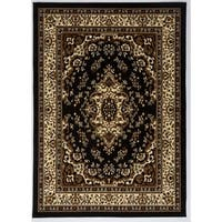 Antep Rugs Kashan King Collection HIMALAYAS Oriental Area Rug Black and Beige - 8' x 10'