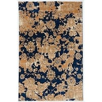 Antep Rugs ORIENTAL Collection  KAYI  Floral  Area Rug NAVY/IVORY 8' X 10' - 8' x 10'