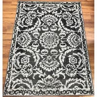 Antep Rugs Kashan King Collection 506 Floral  Area Rug Grey and Black - 8' x 10'