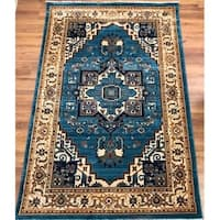 Antep Rugs ORIENTAL Collection TEBRIZ Oriental Area Rug BLUE/IVORY - 8' x 10'