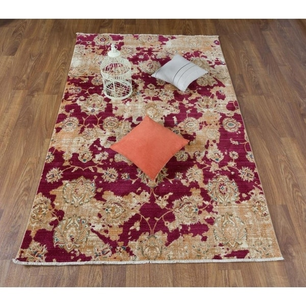 Antep Rugs Oriental Collection Kayi Red Ivory Fl Area Rug 8