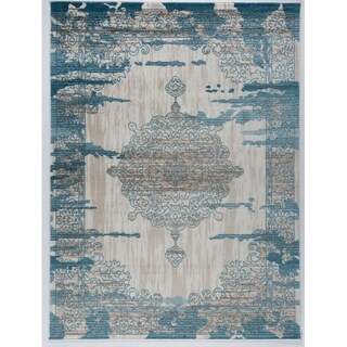 Antep Rugs Zeugma Collection 288 Vintage Cream/ Blue Area Rug (5'3 x 7')