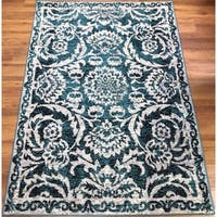 Antep Rugs Kashan King Collection 506 Floral  Area Rug Blue and Cream 5' X 7'