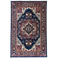 Antep Rugs ORIENTAL Collection TEBRIZ Oriental Area Rug NAVY/IVORY - 5' x 8'