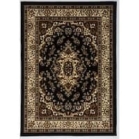 Antep Rugs Kashan King Collection HIMALAYAS Oriental Area Rug Black and Beige