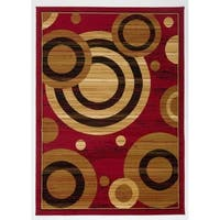 Antep Rugs Kashan King Collection GALAXY Geometric Area Rug Maroon and Beige - 5' x 7'