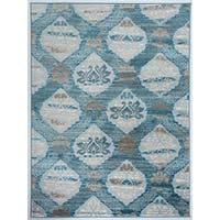 Antep Rugs Zeugma Collection 294 Floral Area Rug Blue