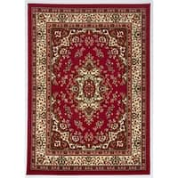 Antep Rugs Kashan King Collection HIMALAYAS Oriental Area Rug Maroon and Beige - 5' x 7'