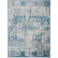 Antep Rugs Zeugma Collection 296 Area Rug Blue Cream