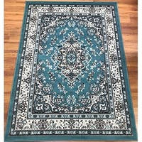 Antep Rugs Kashan King Collection HIMALAYAS Oriental  Area Rug Blue and Cream 5' X 7'