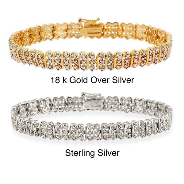 DB Designs 18k Gold or Silver 1/4ct TDW Diamond Bracelet
