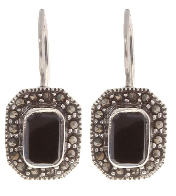 Glitzy Rocks Sterling Silver Marcasite and Onyx Earrings