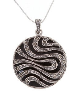Glitzy Rocks Sterling Silver Marcasite and Onyx Circle Pendant