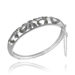 Glitzy Rocks Sterling Silver Marcasite Floral Bangle Bracelet