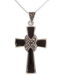 Glitzy Rocks Sterling Silver Marcasite and Onyx Cross Pendant