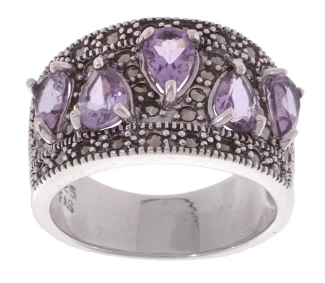 Glitzy Rocks Sterling Silver Marcasite and Amethyst Ring