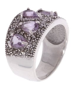 Glitzy Rocks Sterling Silver Marcasite and Amethyst Ring - Thumbnail 1