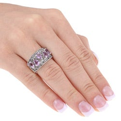 Glitzy Rocks Sterling Silver Marcasite and Amethyst Ring - Thumbnail 2