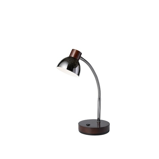 "13"" in Espresso Brown Gloss LED Goose Neck Cone Table Lamp"