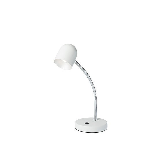 "12.5"" in Matte White Gloss LED Goose Neck Metal Bowl Table Lamp"