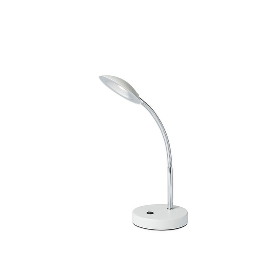 """11"""" in Matte White LED Goose Neck Metal Saucer Table Lamp"""