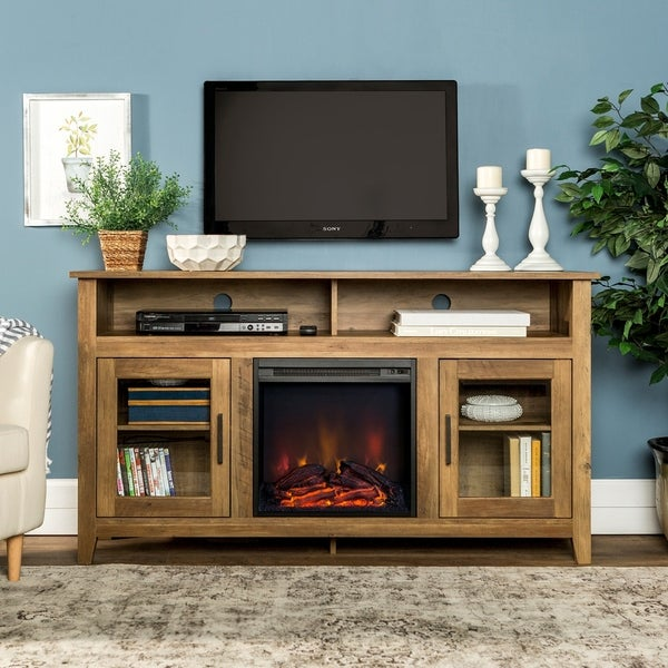 Shop 58 Inch Wood Highboy Fireplace Tv Stand Rustic Oak