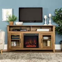 58-inch Wood Highboy Fireplace TV Stand - Rustic Oak