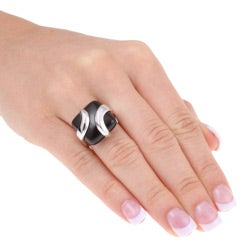 Glitzy Rocks Sterling Silver Square Black Onyx Ring - Thumbnail 2