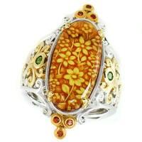 Michael Valitutti Palladium Silver Carved Amber Intaglio Animal Print & Multi Gemstone Ring